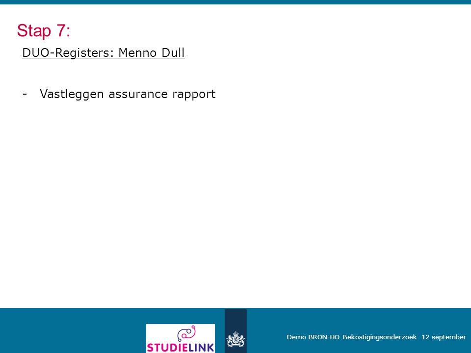 Stap 7: DUO-Registers: Menno Dull Vastleggen assurance rapport