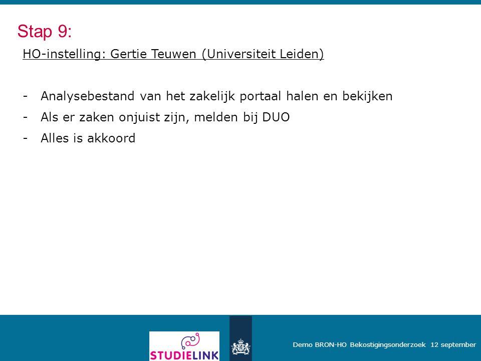 Stap 9: HO-instelling: Gertie Teuwen (Universiteit Leiden)
