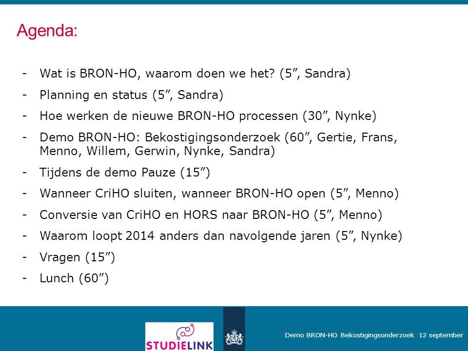 Agenda: Wat is BRON-HO, waarom doen we het (5 , Sandra)