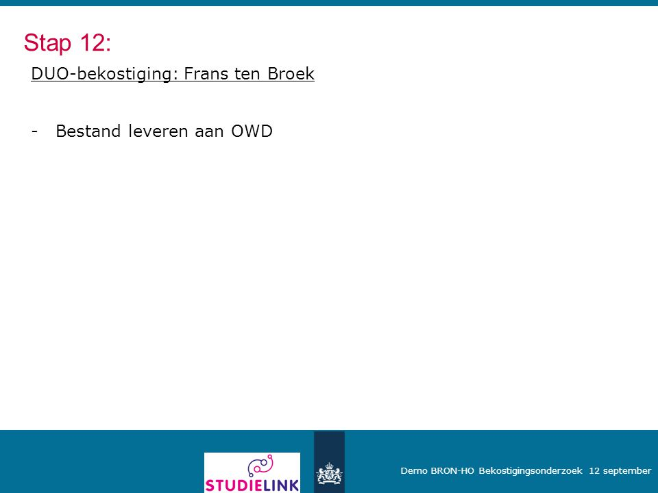Stap 12: DUO-bekostiging: Frans ten Broek Bestand leveren aan OWD
