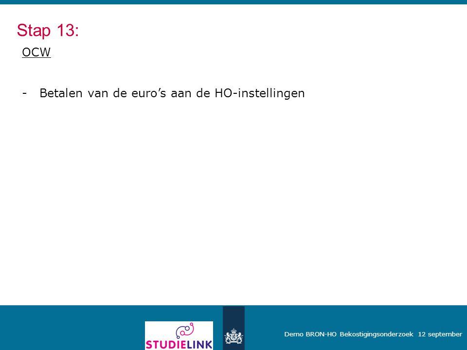 Stap 13: OCW Betalen van de euro's aan de HO-instellingen