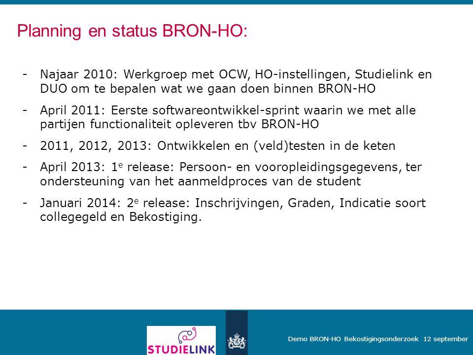 Planning en status BRON-HO: