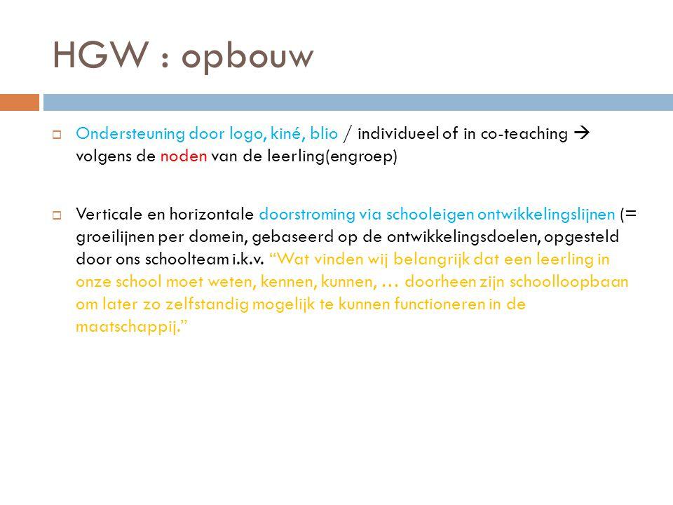 HGW : opbouw Ondersteuning door logo, kiné, blio / individueel of in co-teaching  volgens de noden van de leerling(engroep)