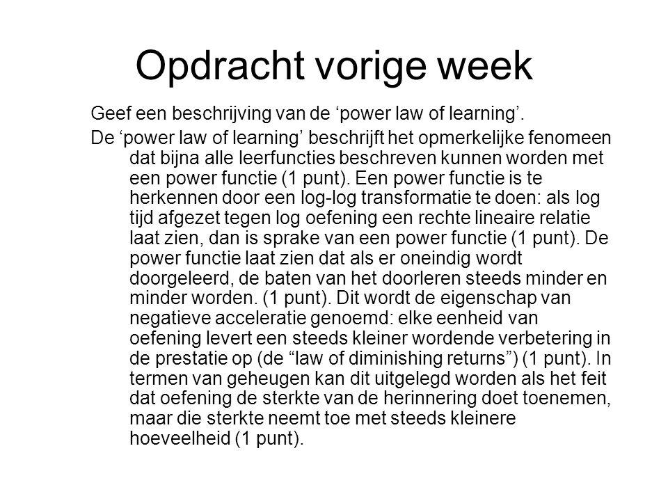 Opdracht vorige week Geef een beschrijving van de 'power law of learning'.