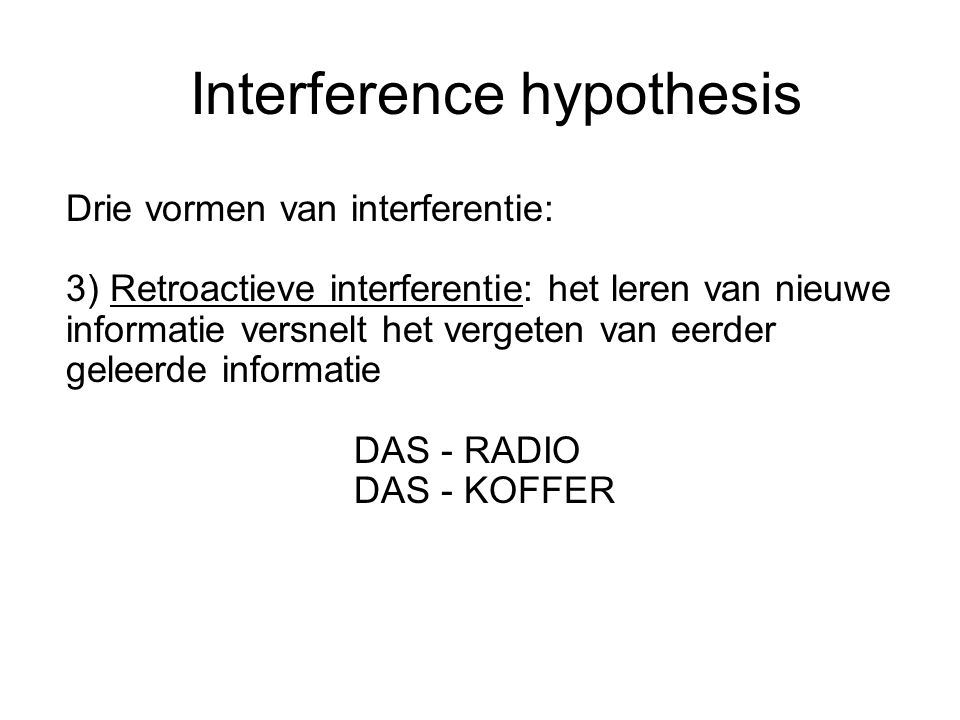 Interference hypothesis
