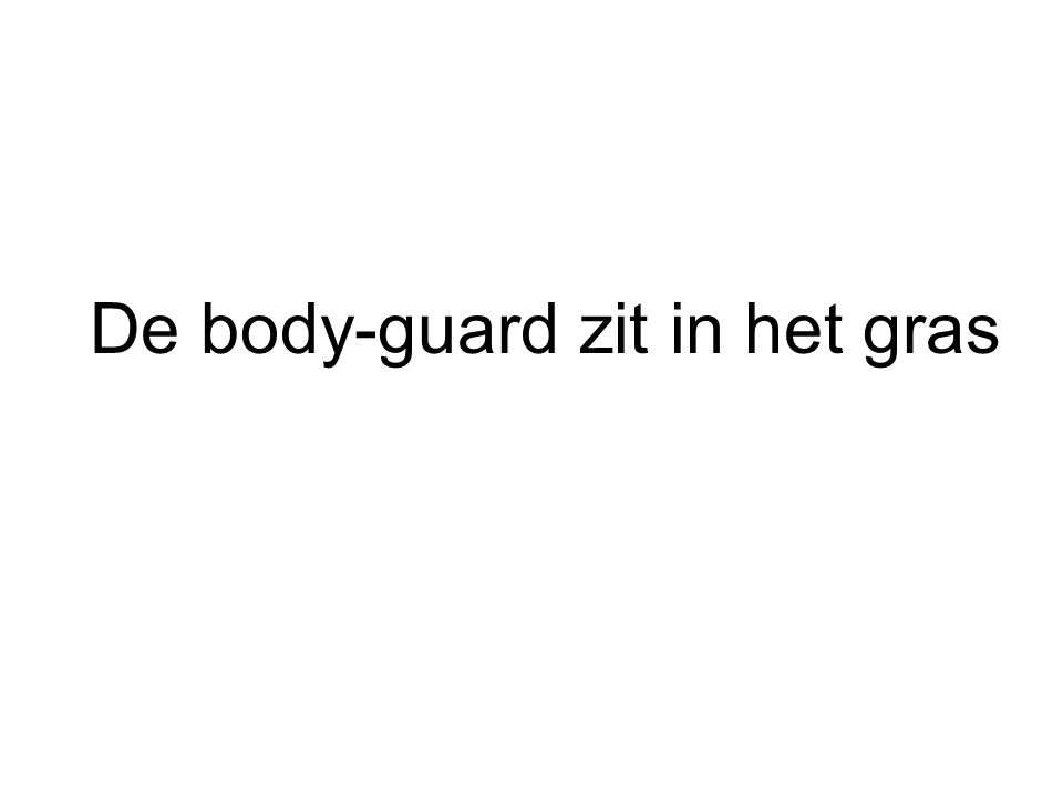 De body-guard zit in het gras