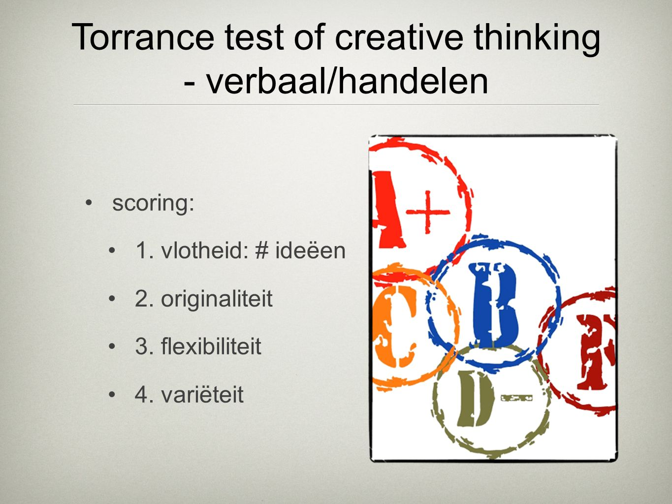 Torrance test of creative thinking - verbaal/handelen