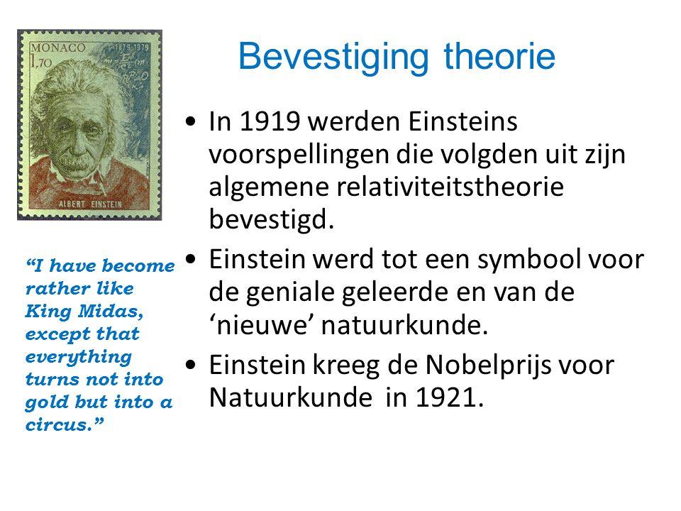 Bevestiging theorie In 1919 werden Einsteins voorspellingen die volgden uit zijn algemene relativiteitstheorie bevestigd.