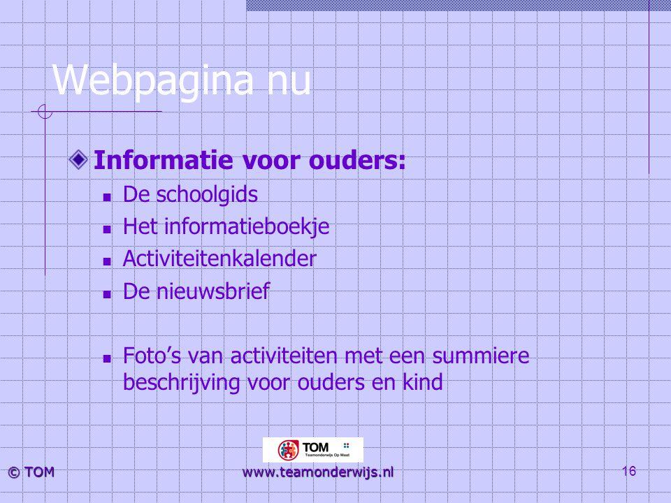 Webpagina nu Informatie voor ouders: De schoolgids