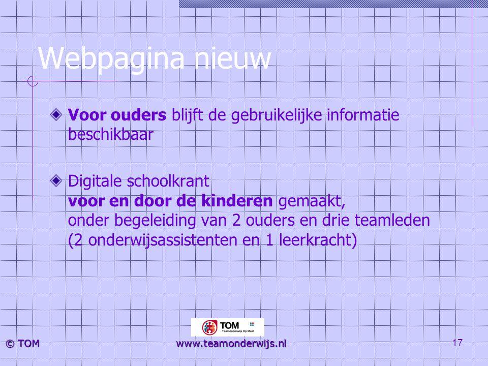 Webpagina nieuw Voor ouders blijft de gebruikelijke informatie beschikbaar.