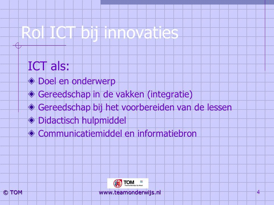 Rol ICT bij innovaties ICT als: Doel en onderwerp