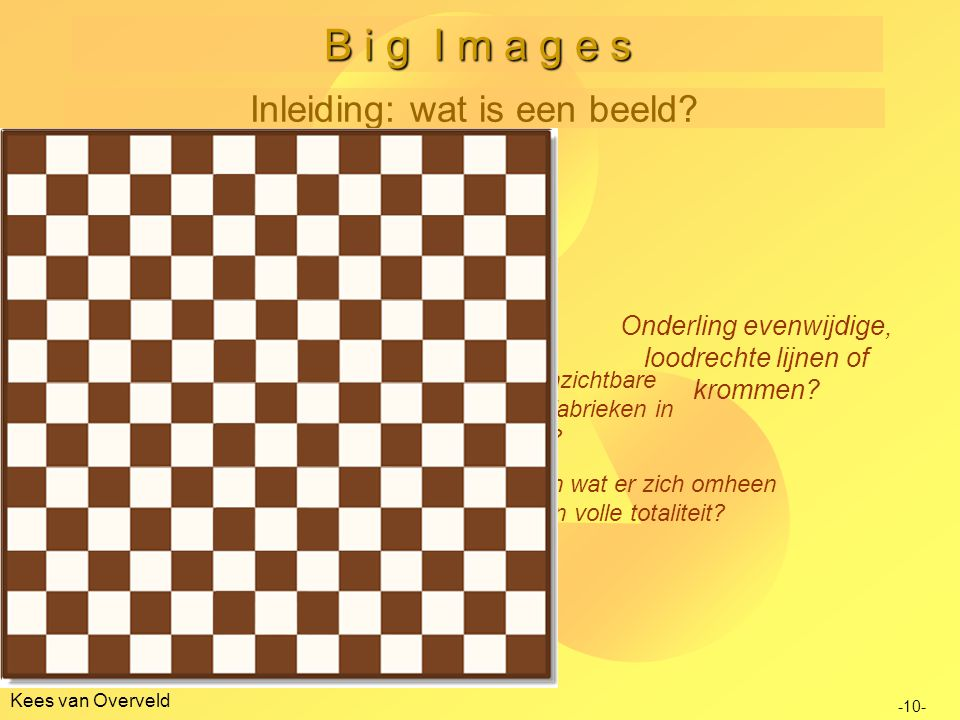 B i g I m a g e s Inleiding: wat is een beeld Twee problemen:
