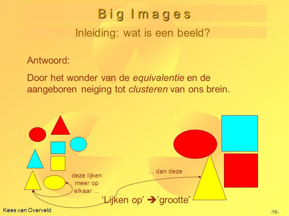 B i g I m a g e s Inleiding: wat is een beeld Antwoord: