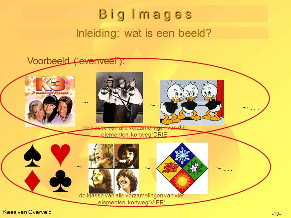 B i g I m a g e s Inleiding: wat is een beeld Voorbeeld ('evenveel'):