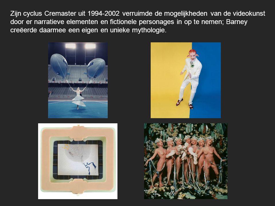 Zijn cyclus Cremaster uit 1994-2002 verruimde de mogelijkheden van de videokunst door er narratieve elementen en fictionele personages in op te nemen; Barney creëerde daarmee een eigen en unieke mythologie.