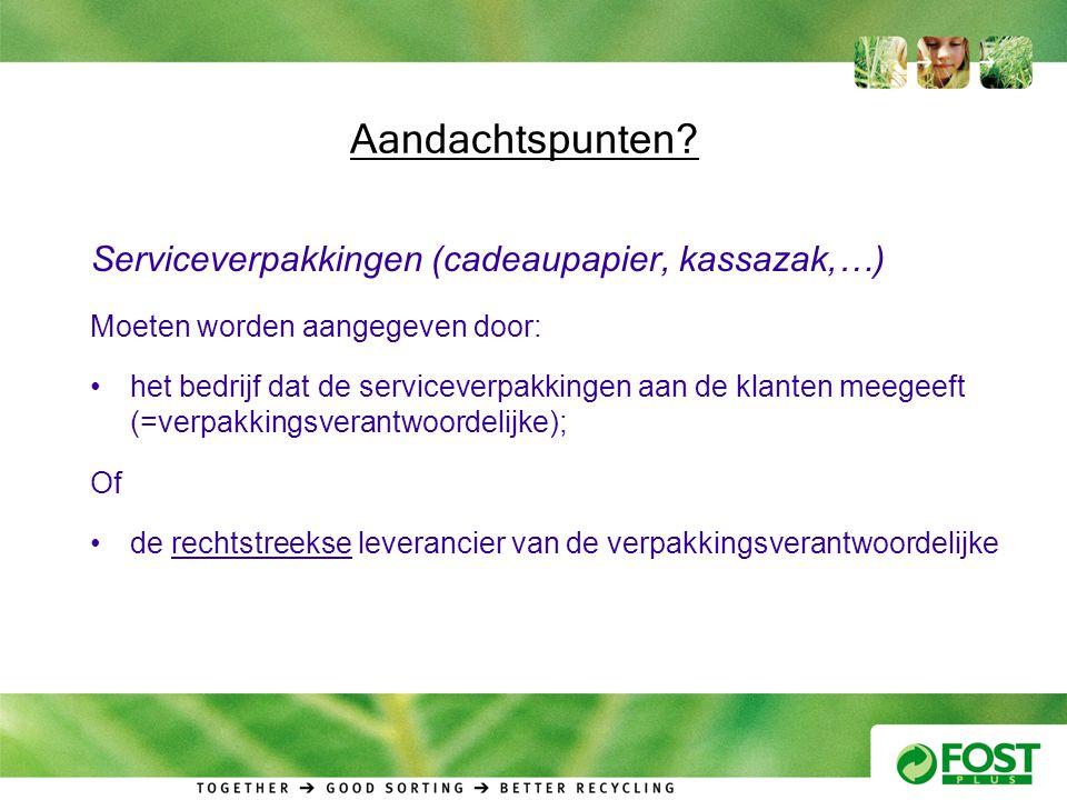 Aandachtspunten Serviceverpakkingen (cadeaupapier, kassazak,…)