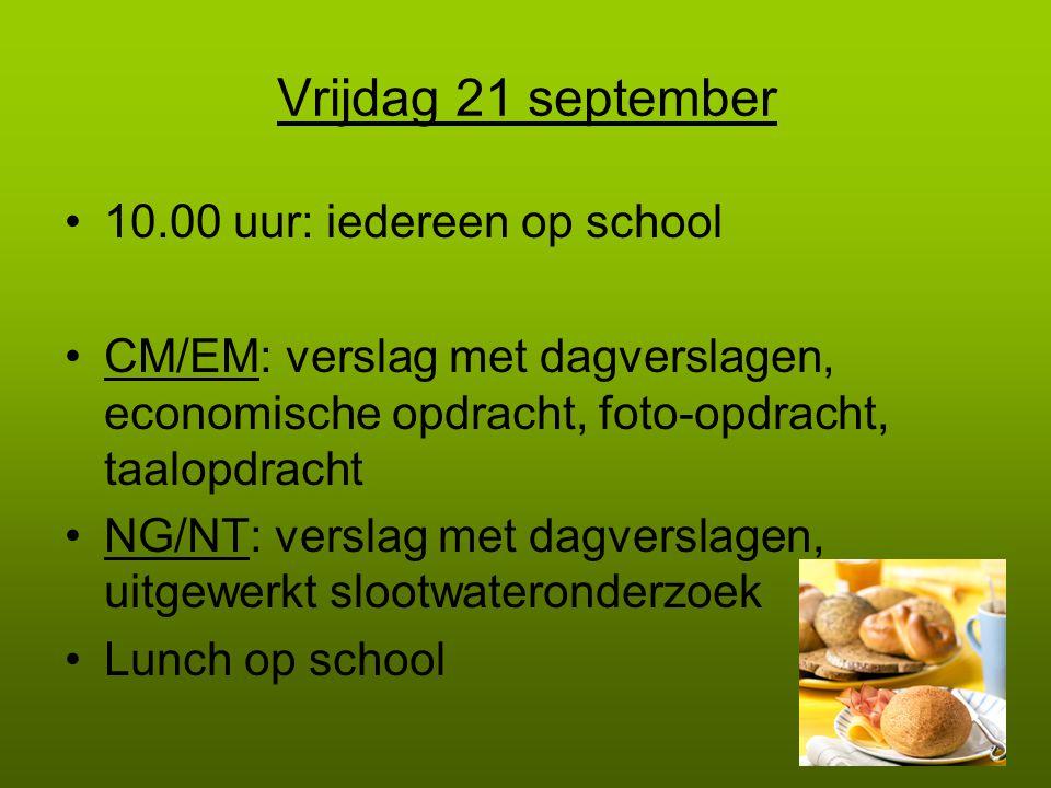 Vrijdag 21 september 10.00 uur: iedereen op school