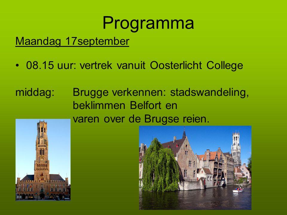 Programma Maandag 17september