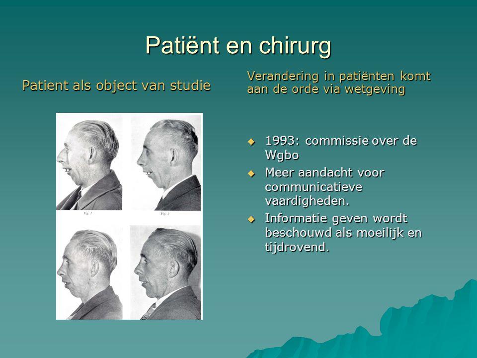 Patiënt en chirurg Patient als object van studie