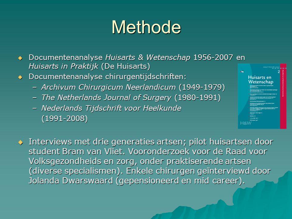 Methode Documentenanalyse Huisarts & Wetenschap 1956-2007 en Huisarts in Praktijk (De Huisarts) Documentenanalyse chirurgentijdschriften: