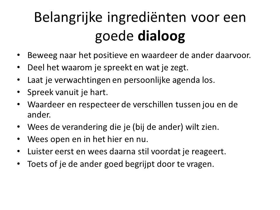 Belangrijke ingrediënten voor een goede dialoog