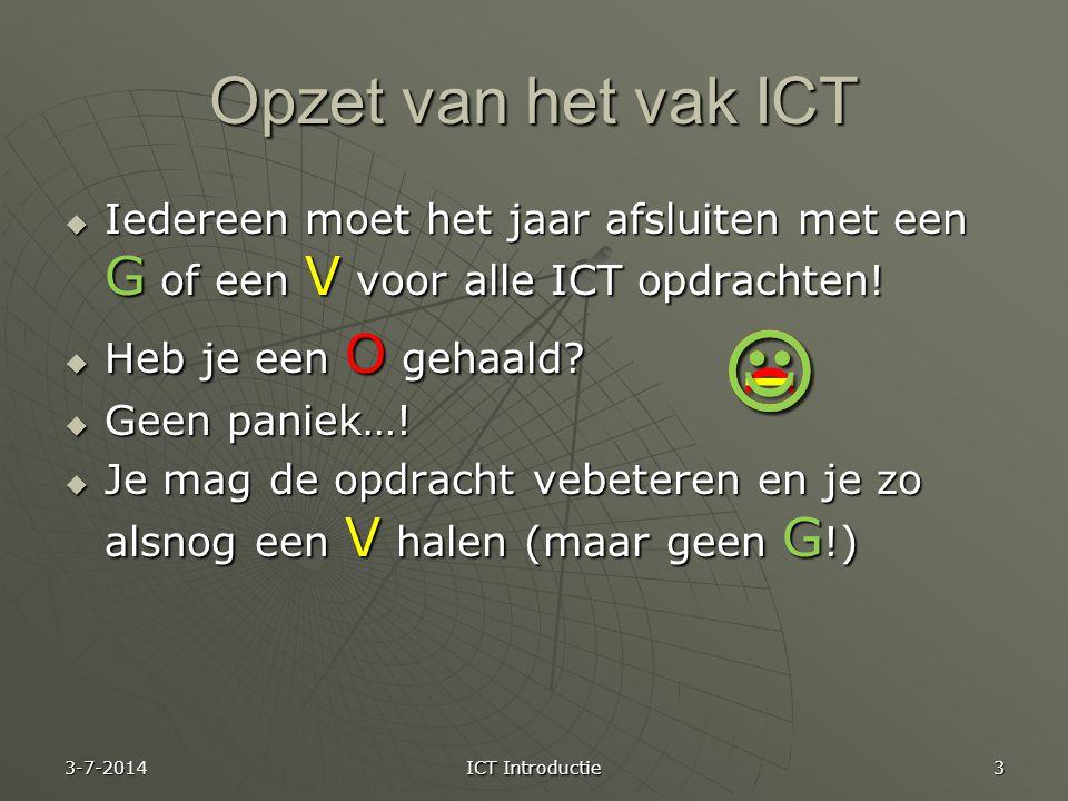    Opzet van het vak ICT