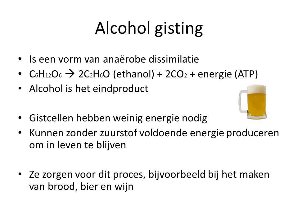 Alcohol gisting Is een vorm van anaërobe dissimilatie
