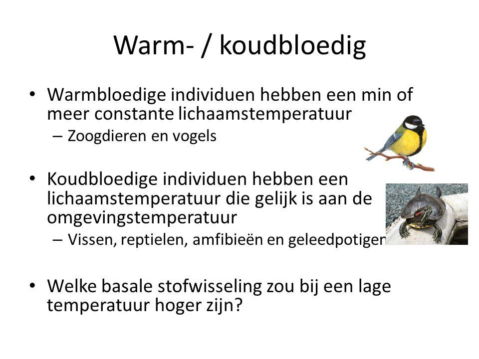 Warm- / koudbloedig Warmbloedige individuen hebben een min of meer constante lichaamstemperatuur. Zoogdieren en vogels.