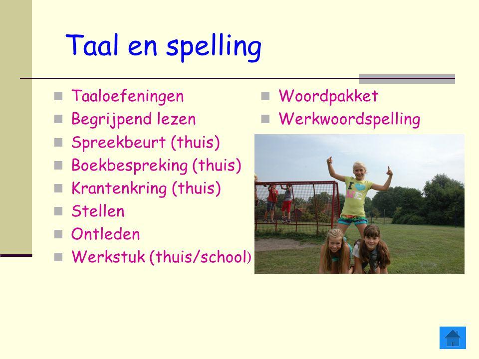 Taal en spelling Taaloefeningen Begrijpend lezen Spreekbeurt (thuis)
