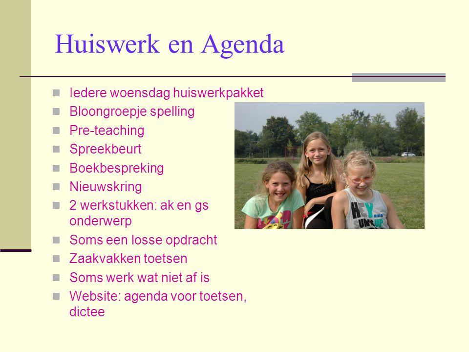 Huiswerk en Agenda Iedere woensdag huiswerkpakket