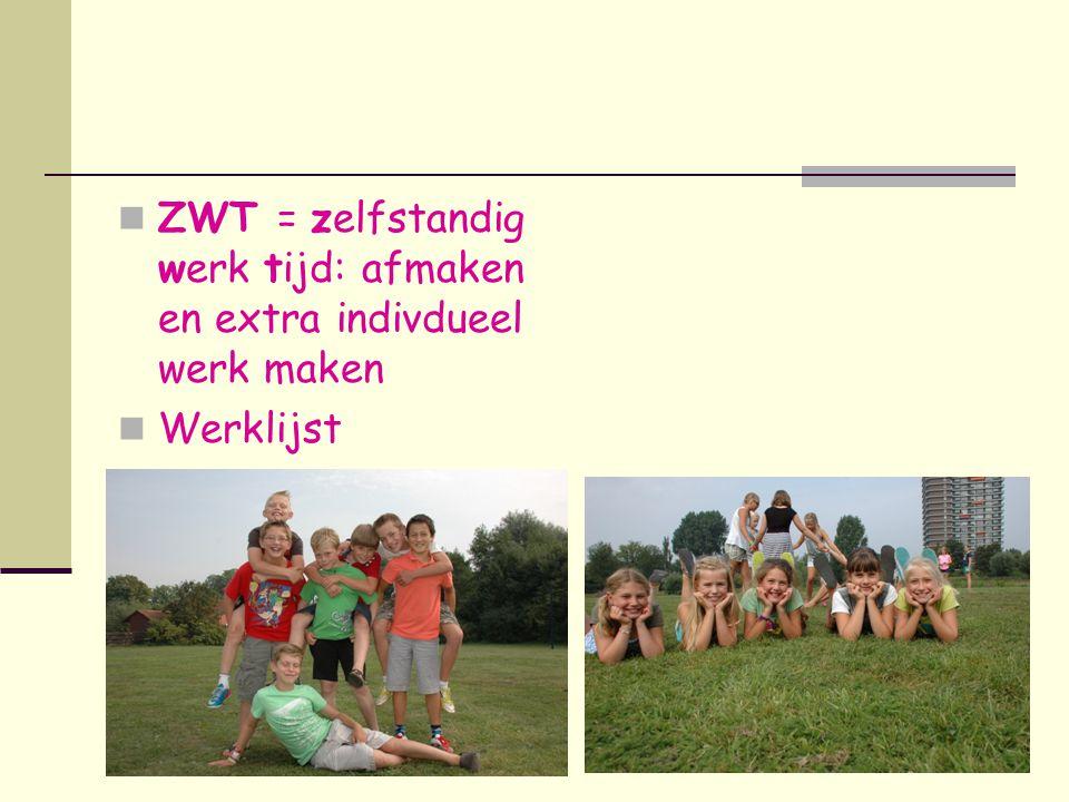 ZWT = zelfstandig werk tijd: afmaken en extra indivdueel werk maken