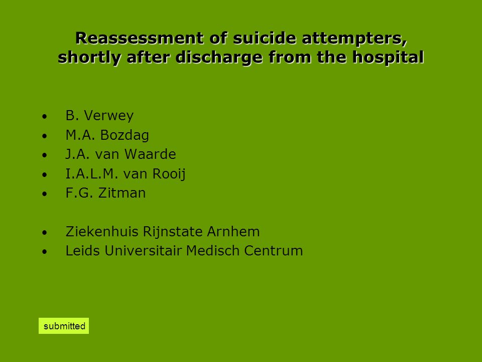 Reassessment of suicide attempters, shortly after discharge from the hospital