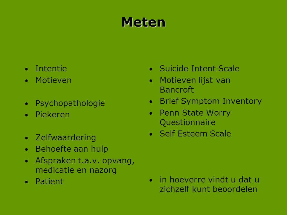 Meten Intentie Motieven Psychopathologie Piekeren Zelfwaardering