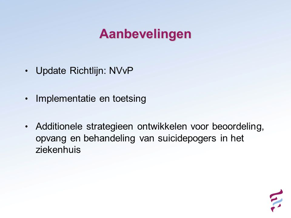 Aanbevelingen Update Richtlijn: NVvP Implementatie en toetsing
