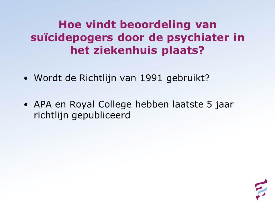 Hoe vindt beoordeling van suïcidepogers door de psychiater in het ziekenhuis plaats