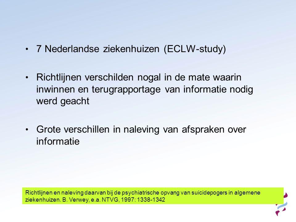 7 Nederlandse ziekenhuizen (ECLW-study)