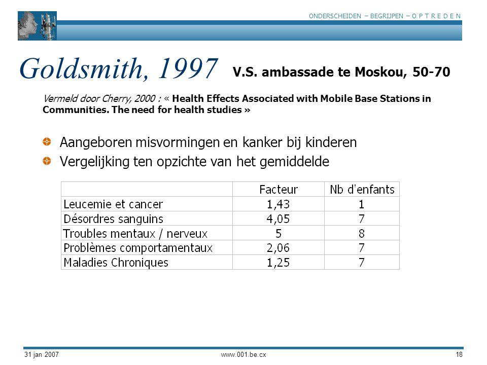 Goldsmith, 1997 Aangeboren misvormingen en kanker bij kinderen