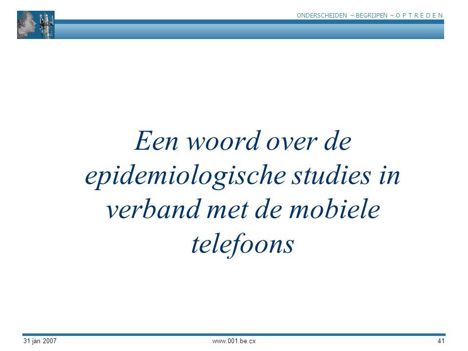 Een woord over de epidemiologische studies in verband met de mobiele telefoons
