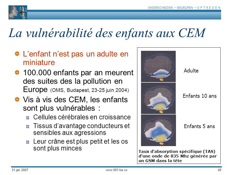 La vulnérabilité des enfants aux CEM