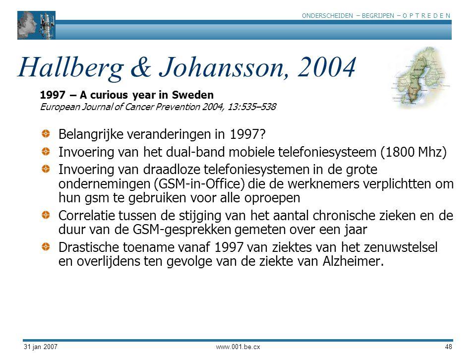 Hallberg & Johansson, 2004 Belangrijke veranderingen in 1997