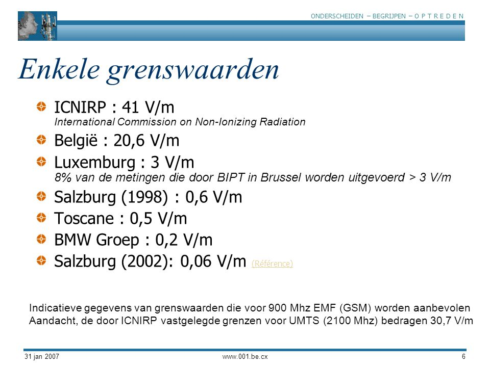 Enkele grenswaarden ICNIRP : 41 V/m International Commission on Non-Ionizing Radiation. België : 20,6 V/m.