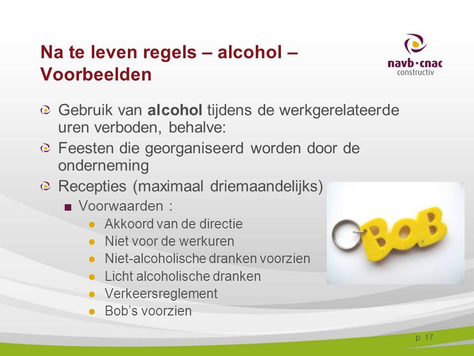 Na te leven regels – alcohol – Voorbeelden