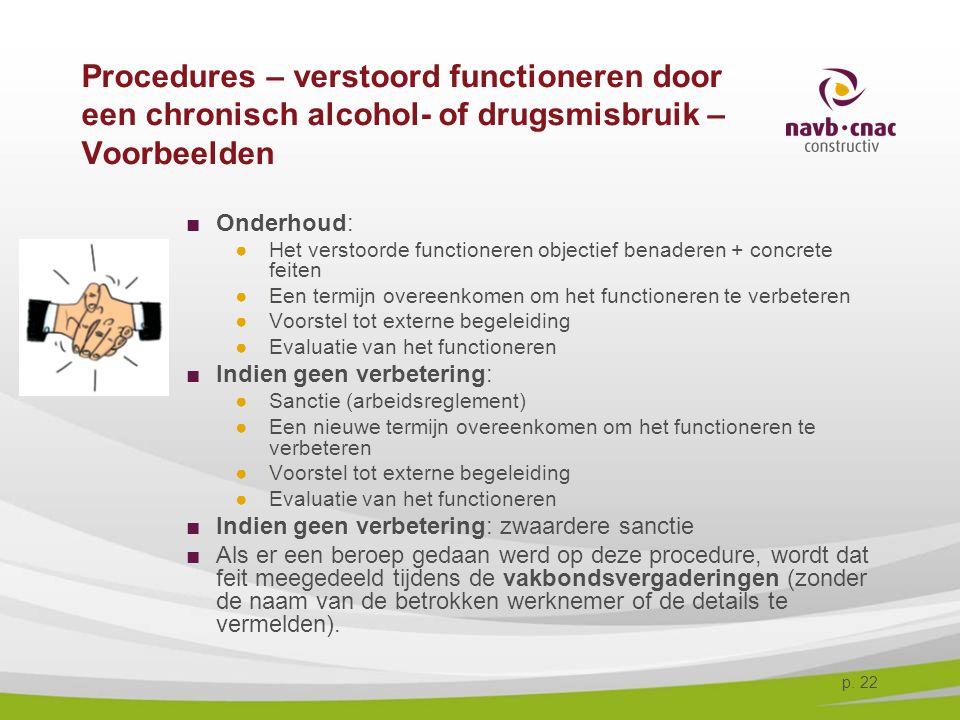 4-4-2017 Procedures – verstoord functioneren door een chronisch alcohol- of drugsmisbruik – Voorbeelden.