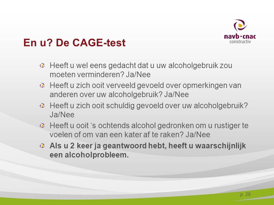 4-4-2017 En u De CAGE-test. Heeft u wel eens gedacht dat u uw alcoholgebruik zou moeten verminderen Ja/Nee.