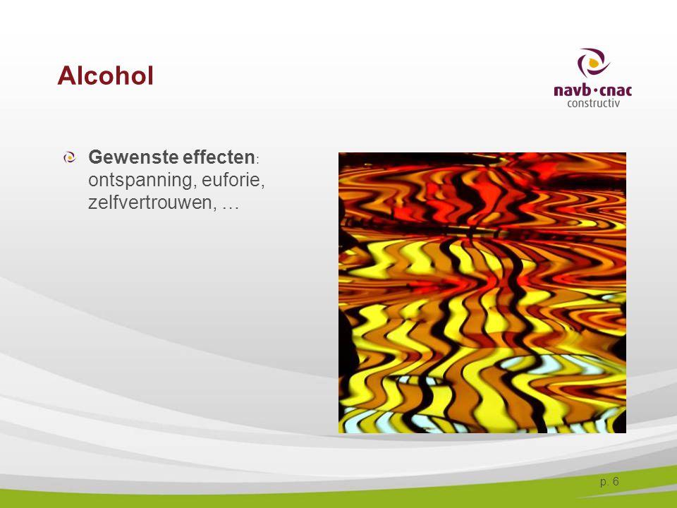 Alcohol Gewenste effecten: ontspanning, euforie, zelfvertrouwen, …