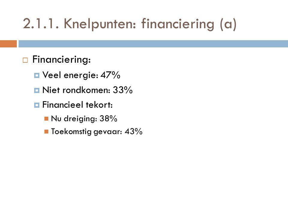 2.1.1. Knelpunten: financiering (a)