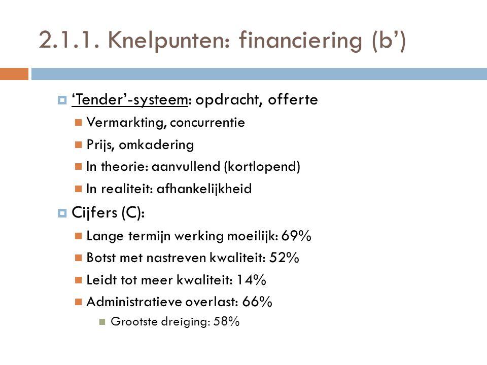 2.1.1. Knelpunten: financiering (b')