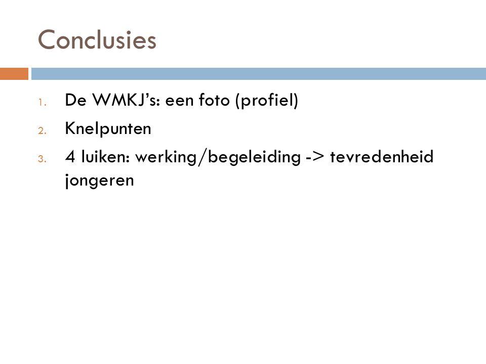 Conclusies De WMKJ's: een foto (profiel) Knelpunten