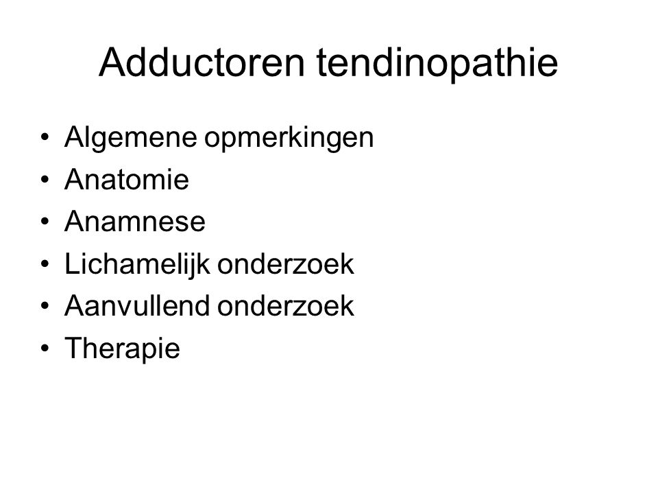 Adductoren tendinopathie