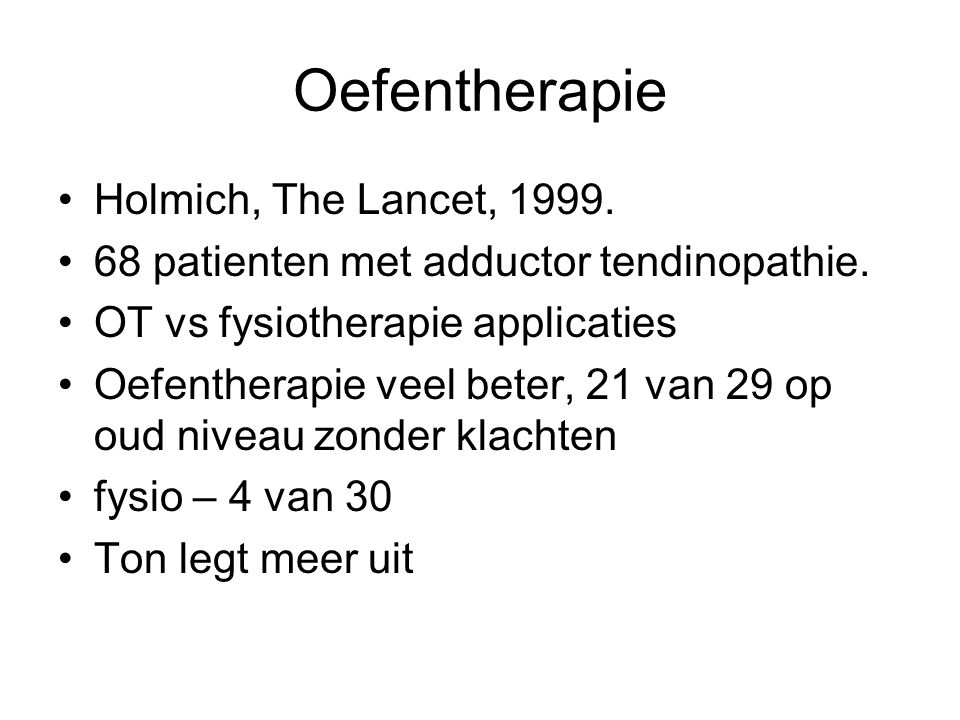 Oefentherapie Holmich, The Lancet, 1999.